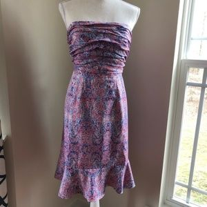 Outback Red paisley print strapless dress